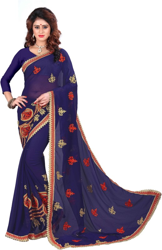 Trendz Style Embroidered Fashion Synthetic Chiffon Saree(Blue)