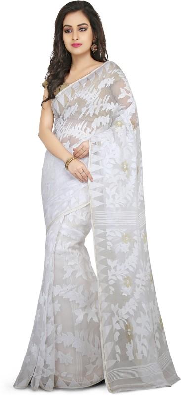 Crochetin Self Design Jamdani Cotton Saree(White)