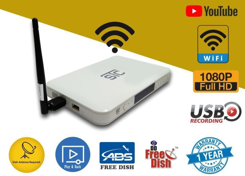 STC Free To Air Full HD Set Top Box With WiFi Connectivity Option With Unlimited Recording (Free To Air) H-500 Plug and Play Satellite Radio