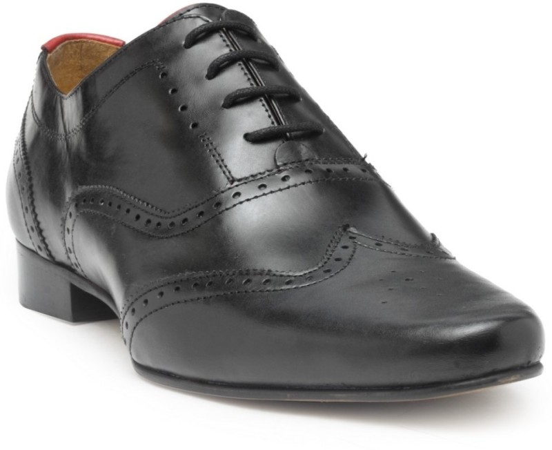 Hats Off Accessories Genuine Leather Premium Brogues Shoes Oxford For Men(Black)