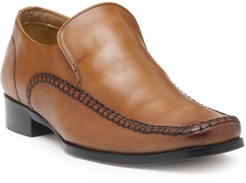 Hats Off Accessories Genuine Leather Semi formal Slip On For Men(Tan)