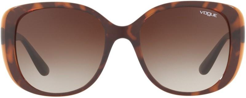 vogue Cat-eye, Retro Square Sunglasses(Brown)