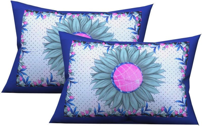 Metro Living Floral Pillows Cover(Pack of 2, 44 cm*66 cm, Blue)