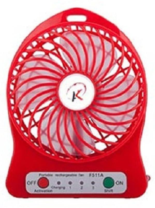Elegant Shopping Portable Rechargeable Mini Fan 4 Blade Table Fan(Red)