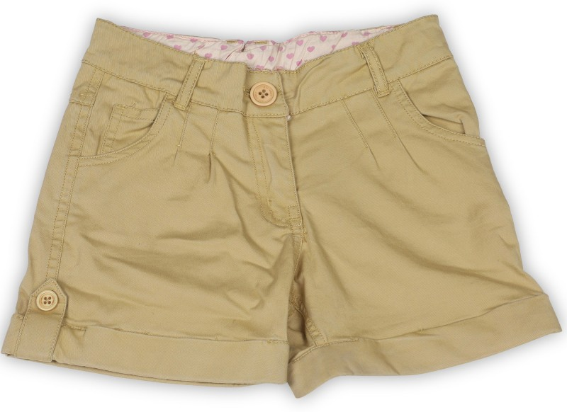 612 League Short For Girls Casual Solid Cotton(Brown, Pack of 1)