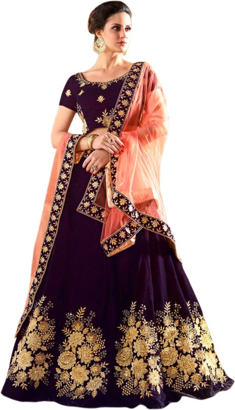 WestCoastOn Embroidered Semi Stitched Lehenga, Choli and Dupatta Set(Purple)