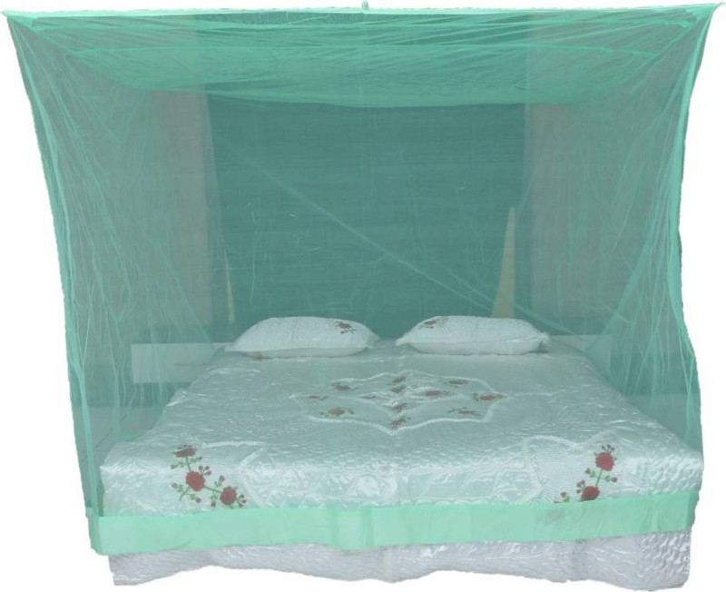 Shreejee Nylon Adults Double Bed Green color Mosquito Net 6x6 feet 1 Mosquito Coil