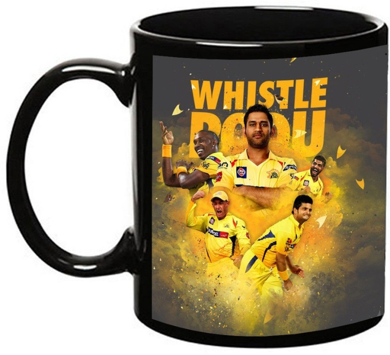 MUGKIN Chennai Super king - Ms dhoni Dark Ceramic Mug(350 ml)