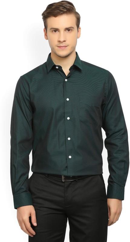 Peter England Mens Self Design Formal Black, Green Shirt