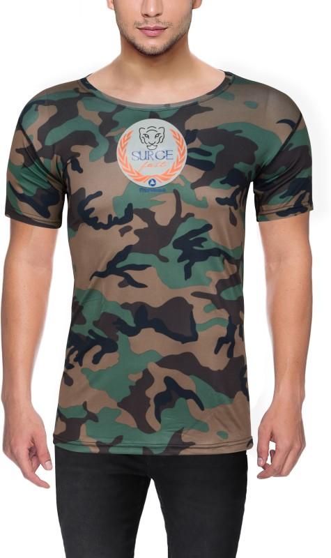 Surgefast Fitness Military Camouflage Men Round Neck Green T-Shirt