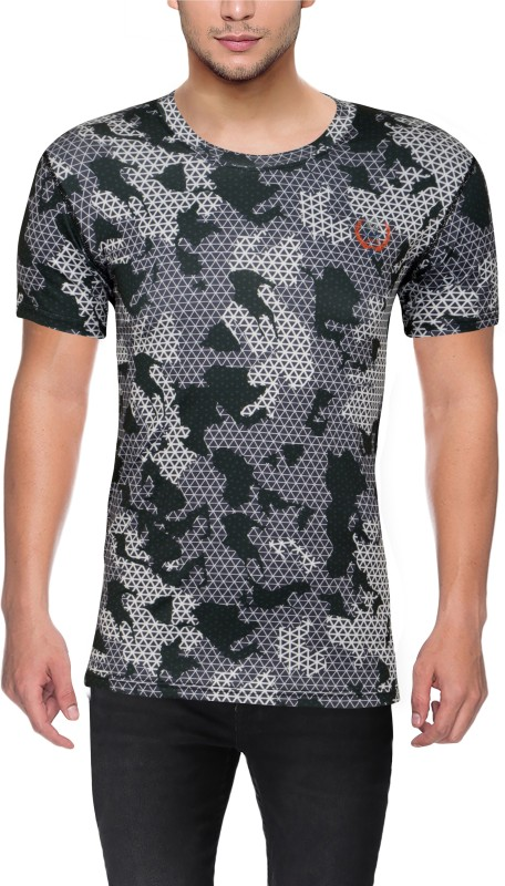 Surgefast Fitness Military Camouflage Men Round Neck Multicolor T-Shirt