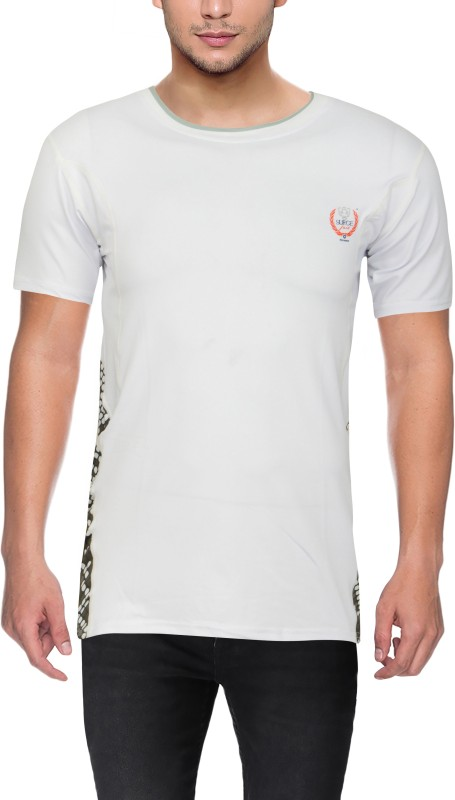 Surgefast Fitness Solid Men Round Neck White T-Shirt
