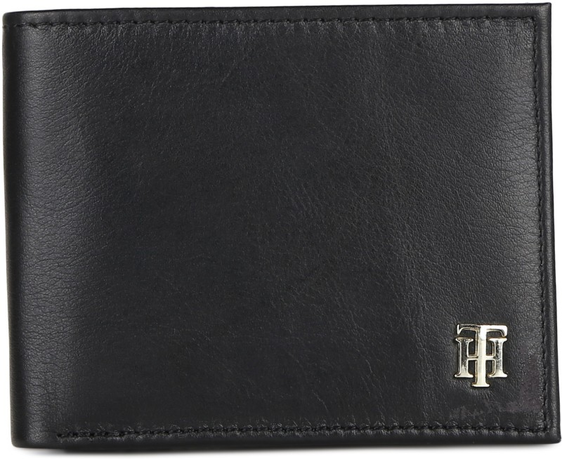 Tommy Hilfiger Men Black Genuine Leather Wallet(8 Card Slots)