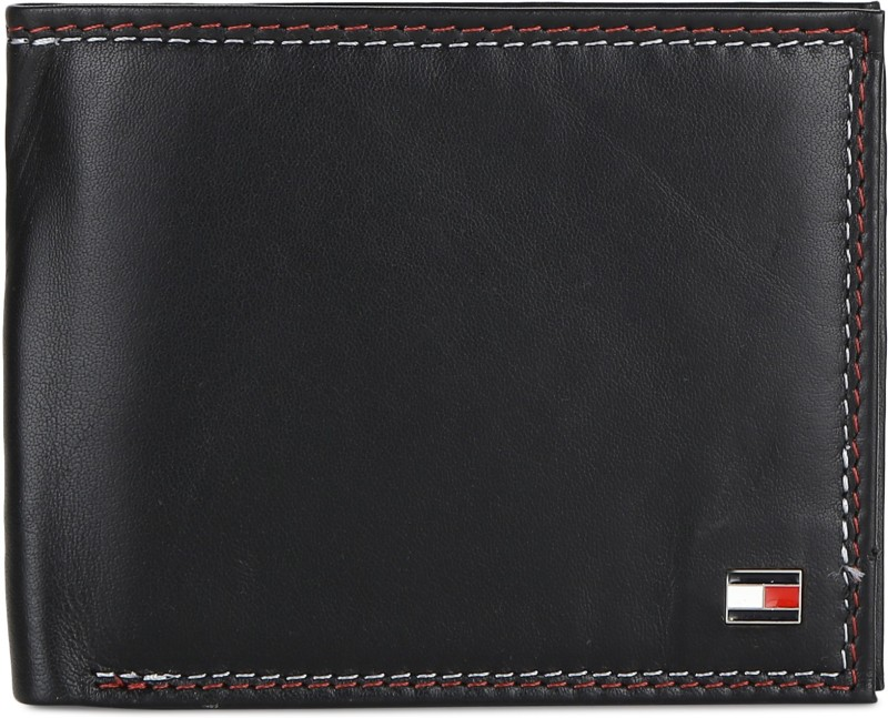 Tommy Hilfiger Men Black Genuine Leather Wallet(11 Card Slots)