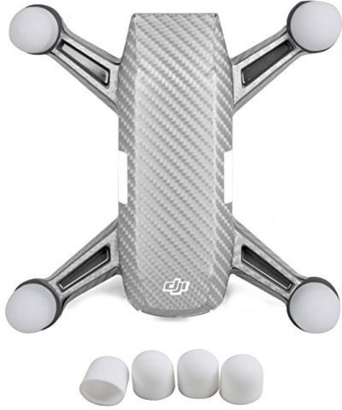 Hobby Ace - Dji Spark Carbon Fiber Sticker Skin With 4Pcs Motor Protective Cap Guard Cover Kit Dustproof Dampproof Anti-Drop Silic