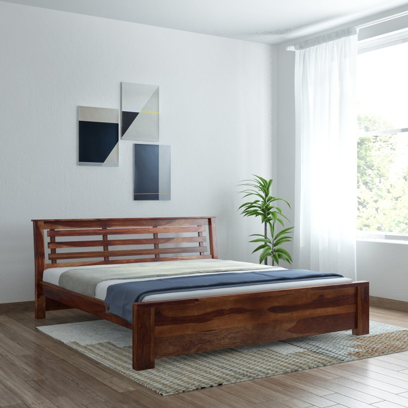 Vintej Home Woodser Sheesham Wood Solid Wood King Bed(Finish Color - Provincial Teak)