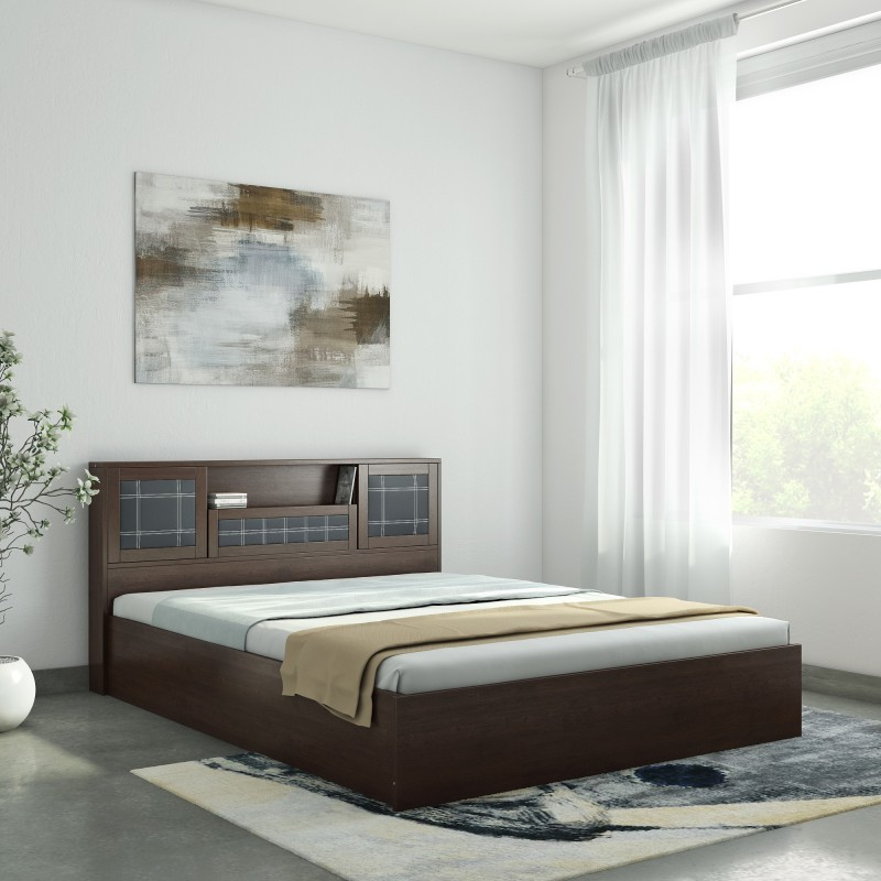 Nilkamal Monarch Engineered Wood Queen Bed With Storage(Finish Color - Brown)