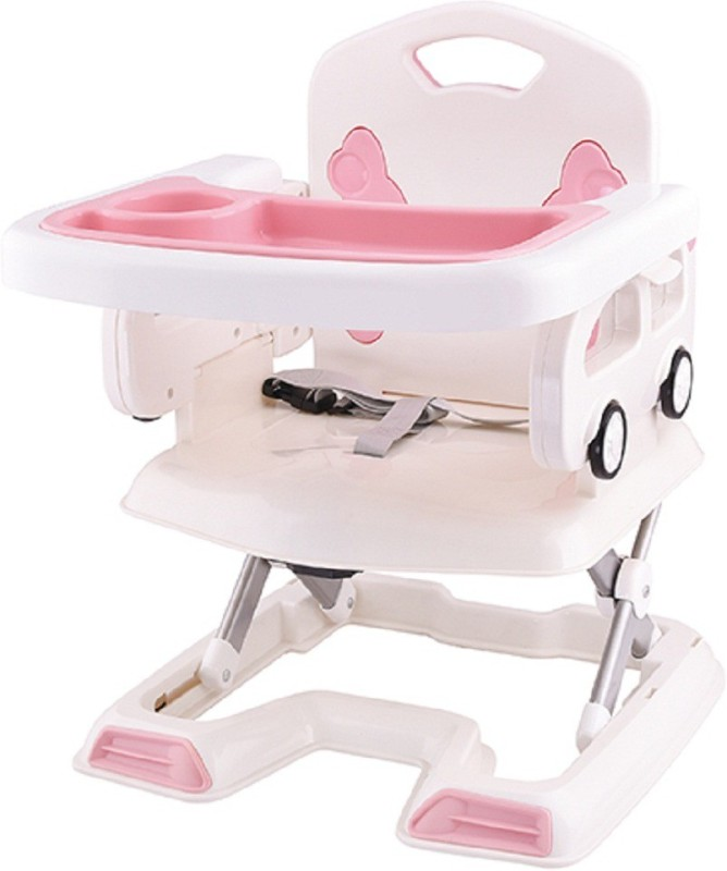 Wishkey Baby Portable Folding Pink Dinning Chair with Tray and Safety Harness for Protection for Kids(Multicolor)