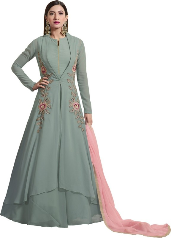 Saara Art Silk Embroidered Semi-stitched Salwar Suit Dupatta Material