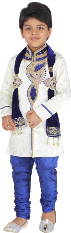 Klaud Zee Boys Wedding Sherwani and Churidar Set(Blue Pack of 1)