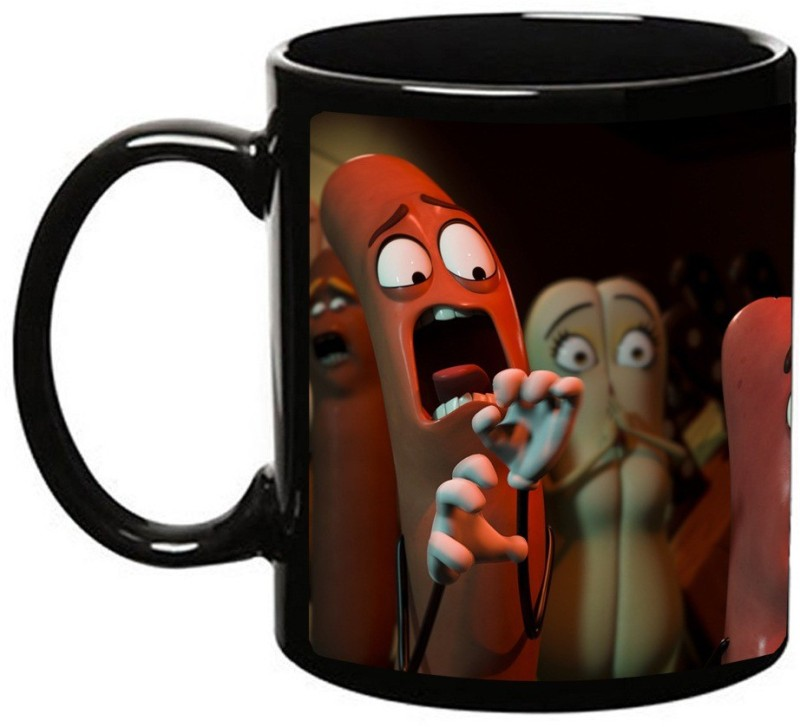 MUGKIN Sausage Party Dark Ceramic Mug(350 ml)