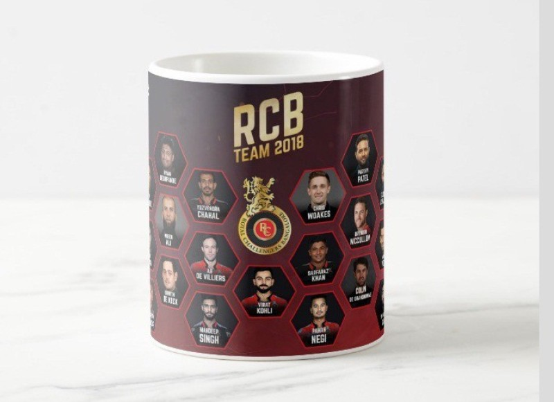 Fashion king Indian IPL T20 League RCB Royal Challengers Bangalore Ceramic (350 ml) Ceramic Mug(350 ml)
