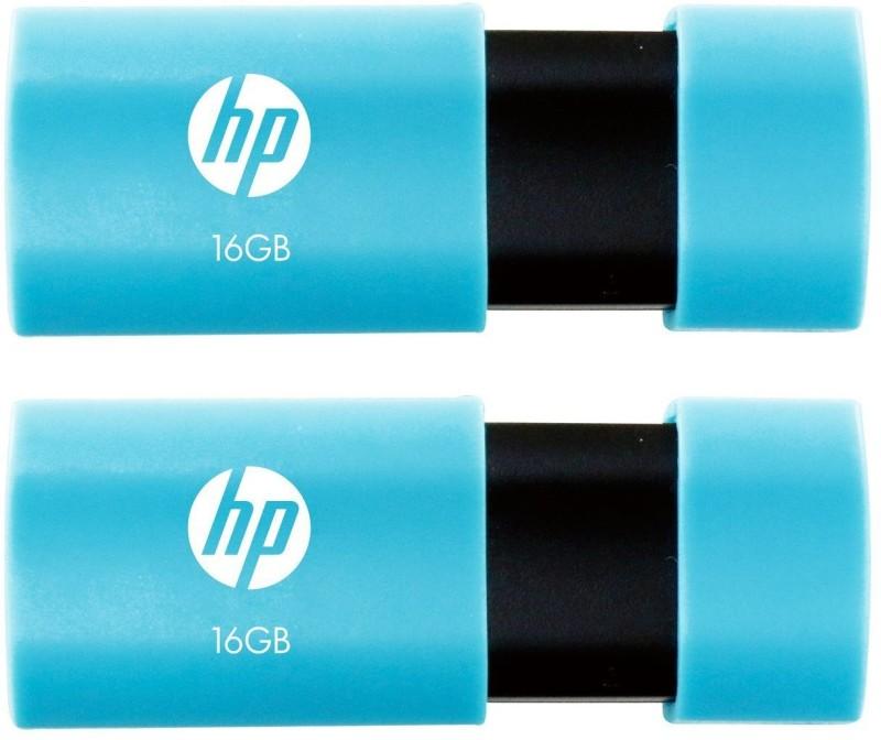 HP V152W Combo of Two 16 GB Pen Drives USB 2.0 Flash Drive (Blue) 16 GB Pen Drive(Blue, Black)