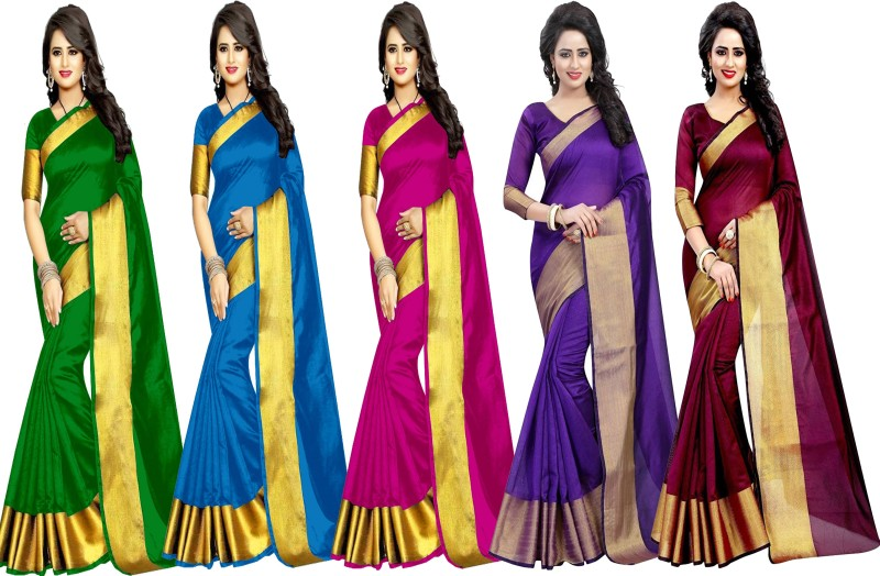 Indianbeauty Plain Fashion Tussar Silk Saree(Pack of 5, Green, Light Blue, Pink,...