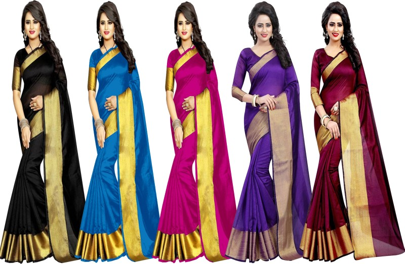Indianbeauty Plain Fashion Tussar Silk Saree(Pack of 5, Black, Light Blue, Pink,...