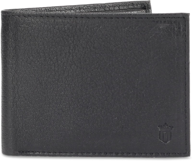 Louis Philippe Men Black Genuine Leather Wallet(8 Card Slots)