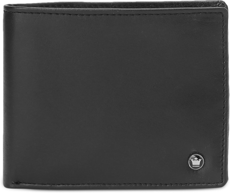 Louis Philippe Men Black Genuine Leather Wallet(10 Card Slots)