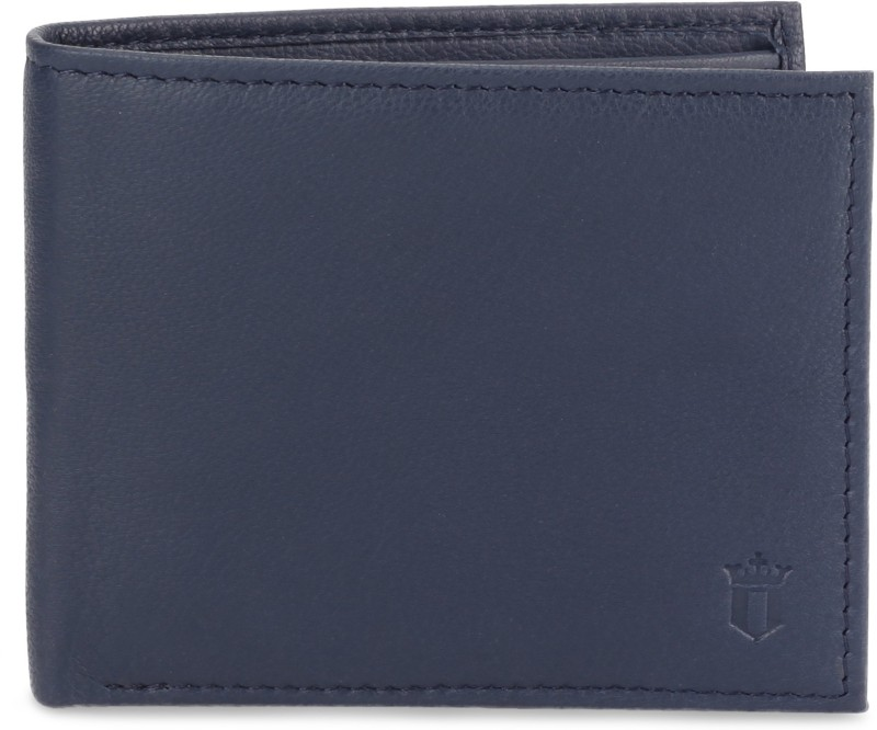 Louis Philippe Men Blue Genuine Leather Wallet(8 Card Slots)