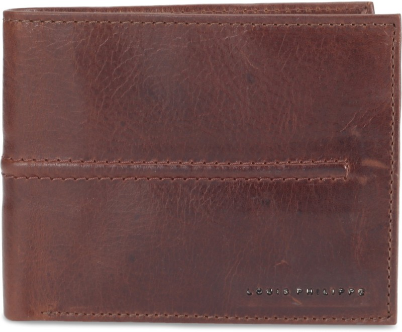 Louis Philippe Men Brown Genuine Leather Wallet(8 Card Slots)