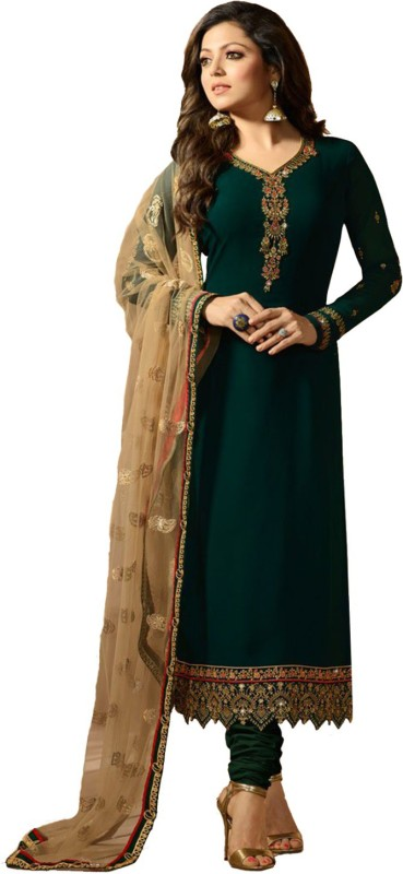 MultiRetail Heavy Georgette Embroidered Semi-stitched Salwar Suit Dupatta Material