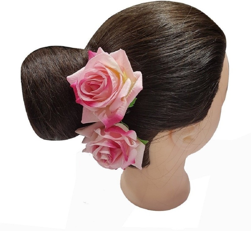 AASA Rose Hair Flower Clip And Pin Brooch Pin For Women / Hair Accessories For Women Hair Clip(Pink)