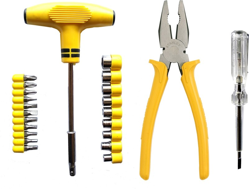 Stanley 24 PCS INTERCHANGEABLE SOCKET SET AND 8 INCH CUTTING PLIER AND ANALOG TESTER PACK OF 3 Lineman Plier(Length : 16 inch)