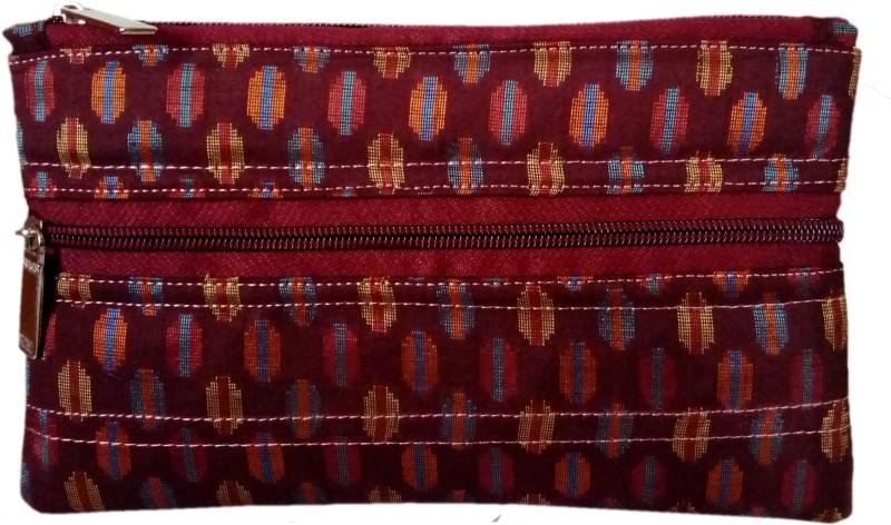 auk Women's Elegant Stitch Pattern Maroon Silk Hand Money Purse Coin Purse(Maroon)