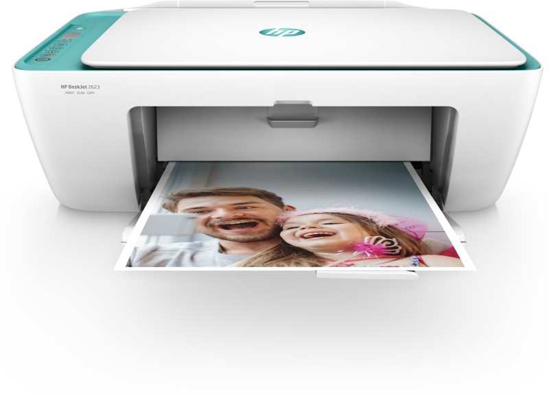 HP 2623 Multi-function Wireless Printer(White, Green, Ink Cartridge)