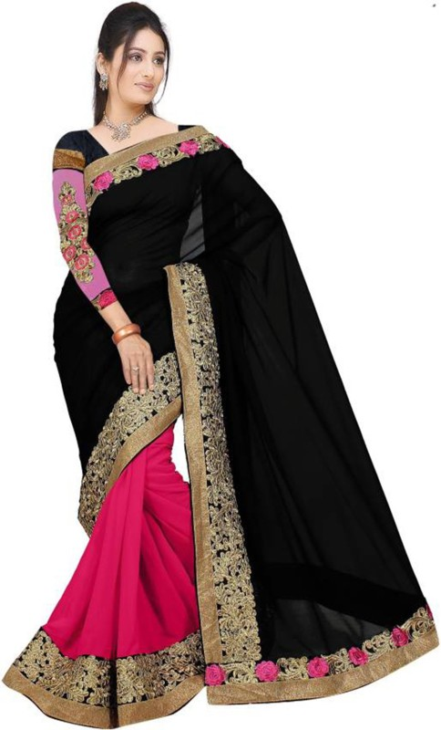 Fabcartz Embroidered Fashion Georgette Saree(Black, Pink)