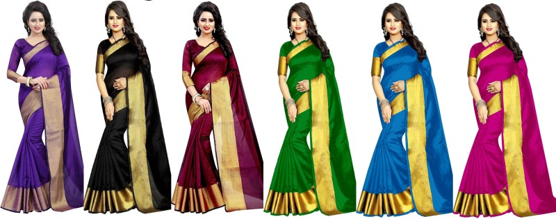 Indianbeauty Plain Fashion Tussar Silk Saree(Pack of 6, Purple, Black, Maroon, Green,...