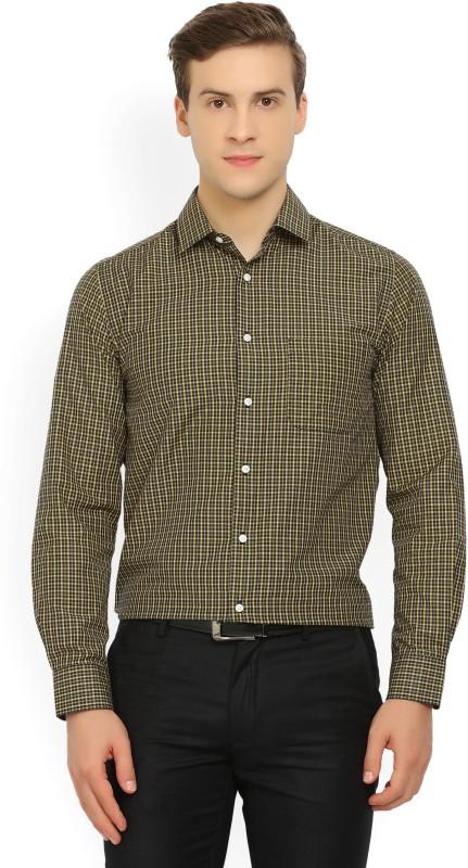 Peter England Mens Checkered Formal Black, Yellow Shirt