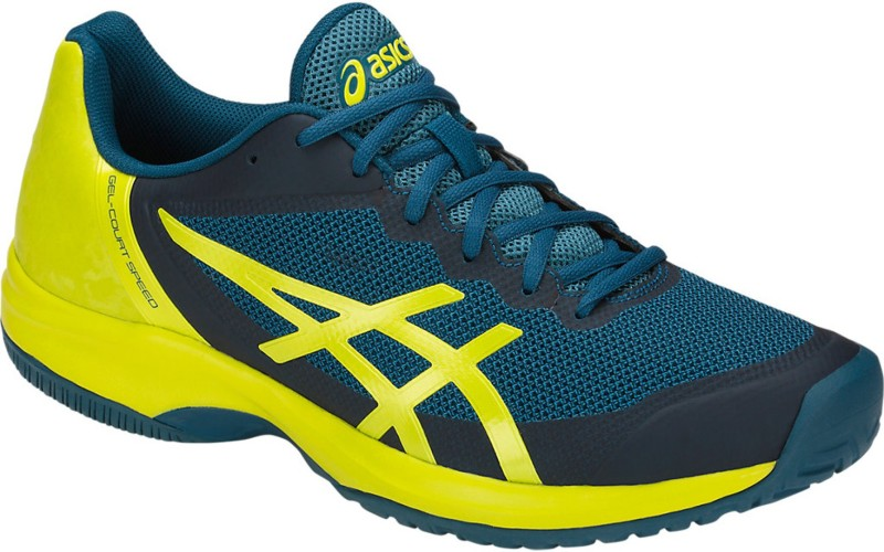 Asics Court Speed All Surface Tennis Shoes - Ink Blue/Sulphur Spring/ Turkish Tile, 13 US Tennis Shoes For Men(Blue, Green)