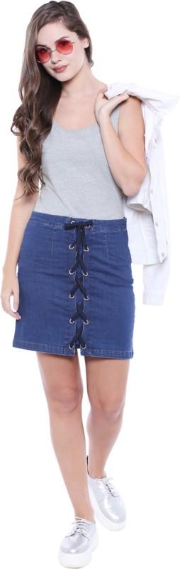 Tarama Self Design Women A-line Dark Blue Skirt