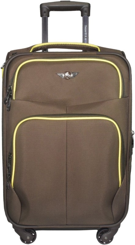 Texas USA Exclusive Range of Imported Soft Luggage Trolley 20 inch Cabin Size _1333 Expandable Cabin Luggage - 22 inch(Brown)