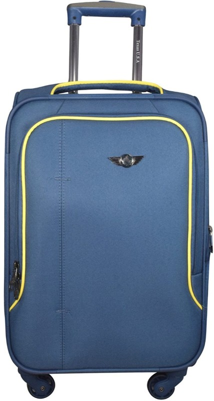 Texas USA Exclusive Range of Imported Soft Luggage Trolley 20 inch Cabin Size Expandable Cabin Luggage - 22 inch(Blue)