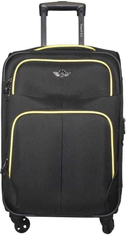 Texas USA Exclusive Range of Imported Soft Luggage Trolley 20 inch Cabin Size_1333 Expandable Cabin Luggage - 22 inch(Black)