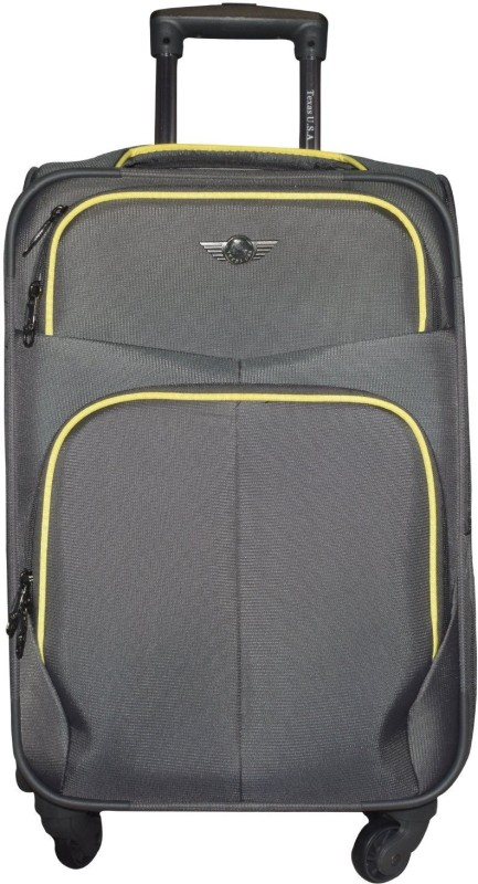 Texas USA Exclusive Range of Imported Soft Luggage Trolley 20 inch Cabin Size_1333 Expandable Cabin Luggage - 22 inch(Grey)