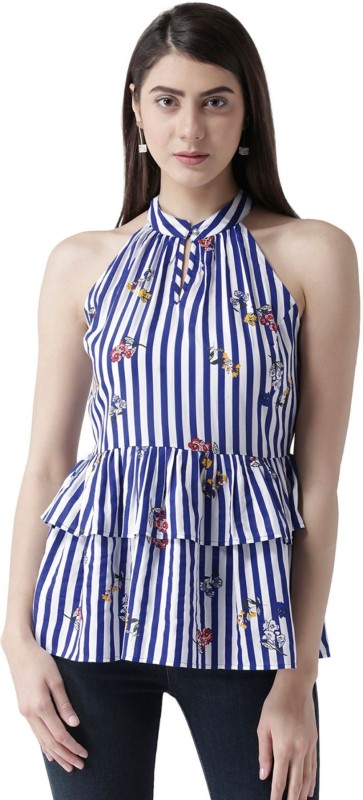 MsFQ Casual Sleeveless Solid Women's Blue Top