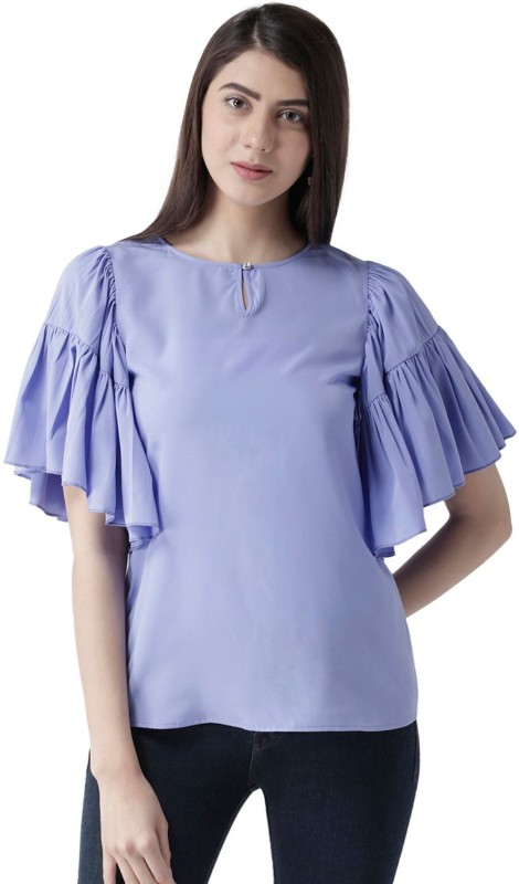 MsFQ Casual 3/4th Sleeve Solid Women's Purple Top