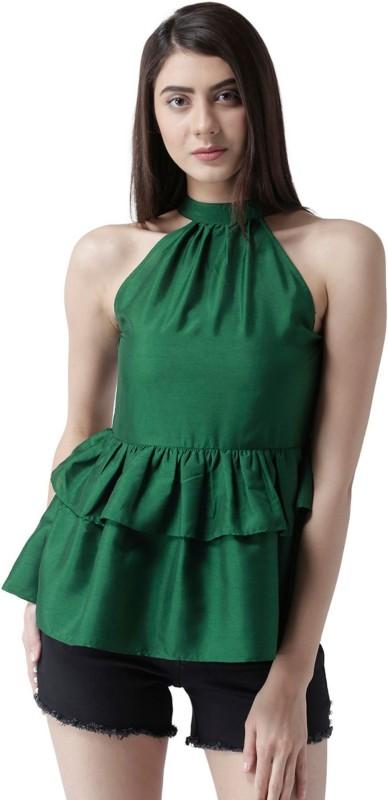 MsFQ Casual Sleeveless Solid Women's Dark Green Top